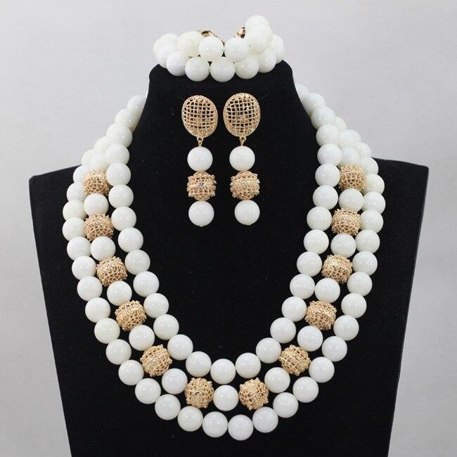 Mode blanc grandes perles Costume bijoux ensemble 14 MM perles de qualité africaine mariage bijoux ensemble pierre naturelle perle livraison gratuite WD510