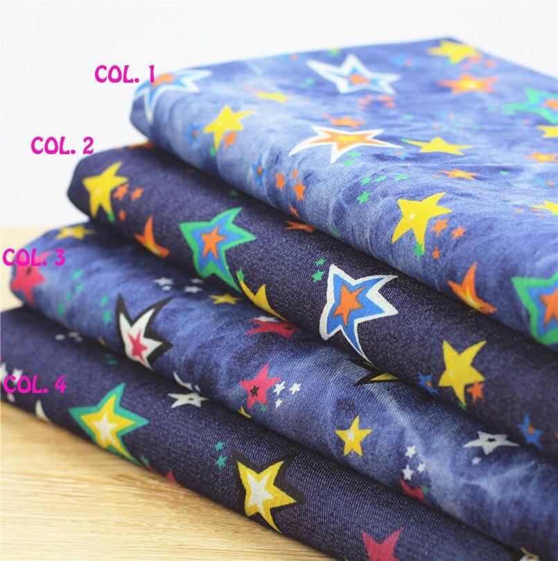 140 * 50cm1ks Denim Fabric Star Cloth 100% bavlněná tkanina Jeans - Umění, řemesla a šití