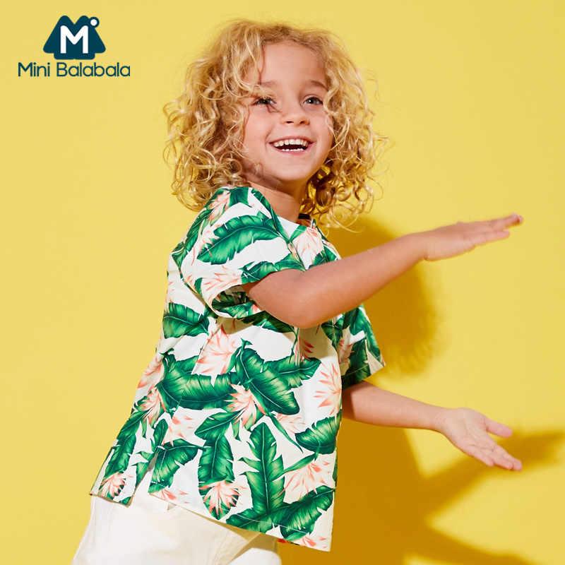 Mini Balabala Peuter Jongen 100% Katoen Tropische Korte mouwen T-shirt Kinderen Kid Geribbelde Crewneck Tee Open Schouder Slit op side