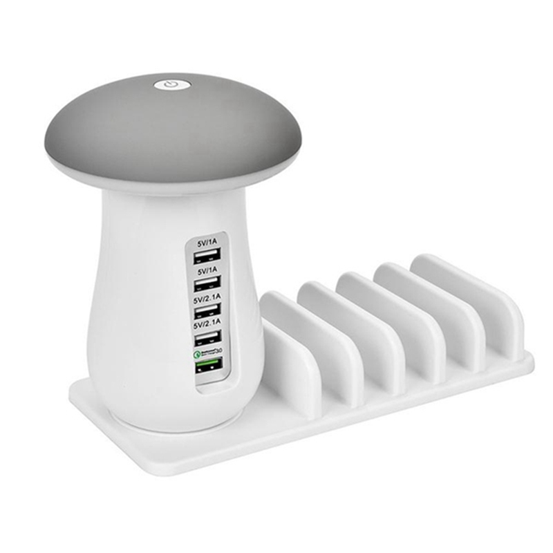 DYH-Mushroom LED Night Light 5-Port USB EU Plug Quick Charging Station Universal Desktop T