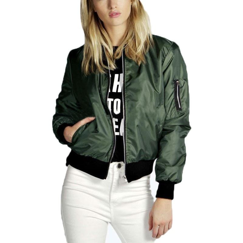 Autumn Winter 2019 Fashion Women   Basic     Jackets   Coats Casual Solid Outwear Bomber Long Sleeve Coat Baseball   Jackets   Jaqueta Femme