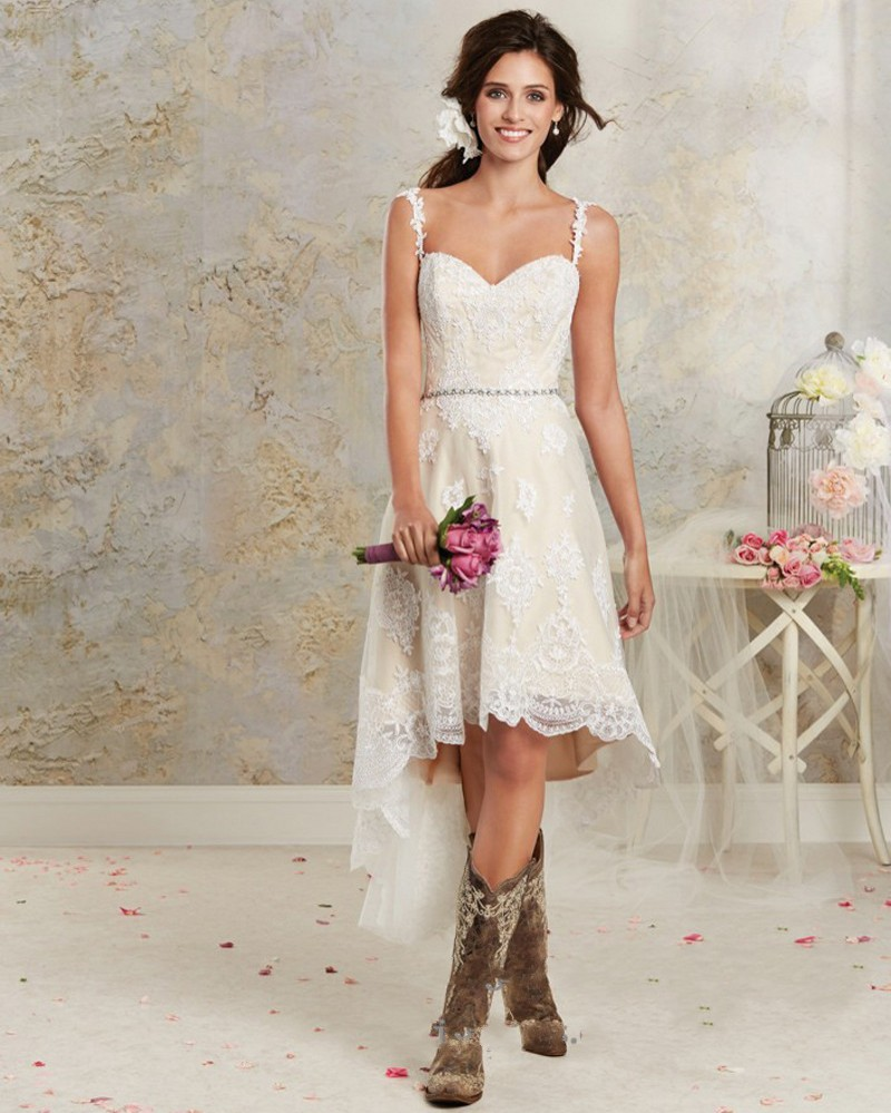 2017 Boho Lace Short Wedding Dress Sexy Spaghetti Straps