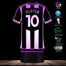Camiseta de fútbol personalizado con luces LED nocturnas, personaliza tu nombre, lámpara de mesa con tu número, pantalla LED de acrílico, Kit de luz de fútbol