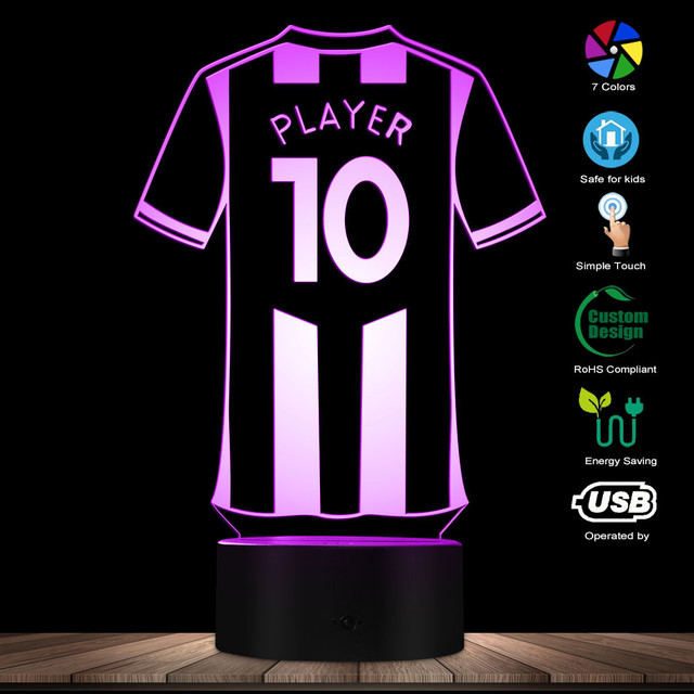 Personalised Football Jersey LED Night Lights Custom Your Name Your Number Table Lamp Light LED Acrylic Display Soccer Kit Light