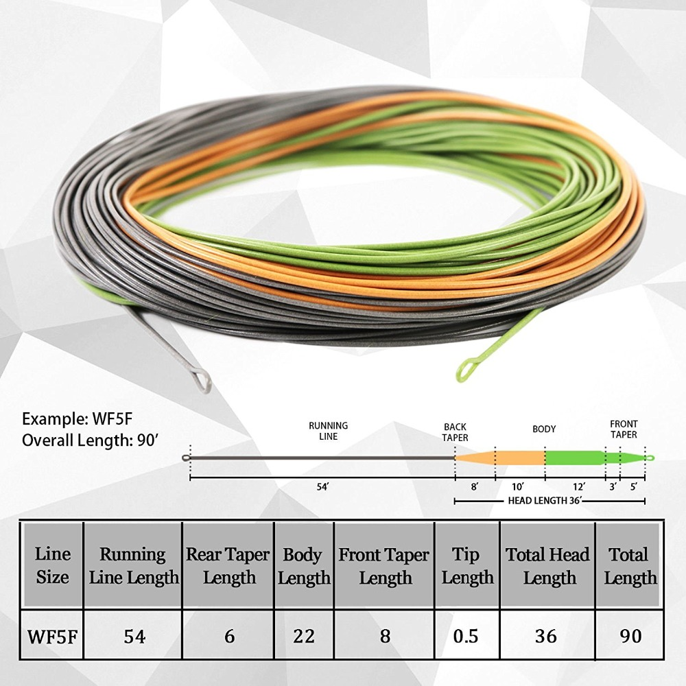 Maximumcatch Weight Forward Perception Floating Fly Fishing line 80-100FT 2/3/4/5/6/7/8WT Trout Fly Line maximumcatch 100ft wf4 5 6 7 8f switch fly fishing line weight forward floating fly line with two welded loops fishing line