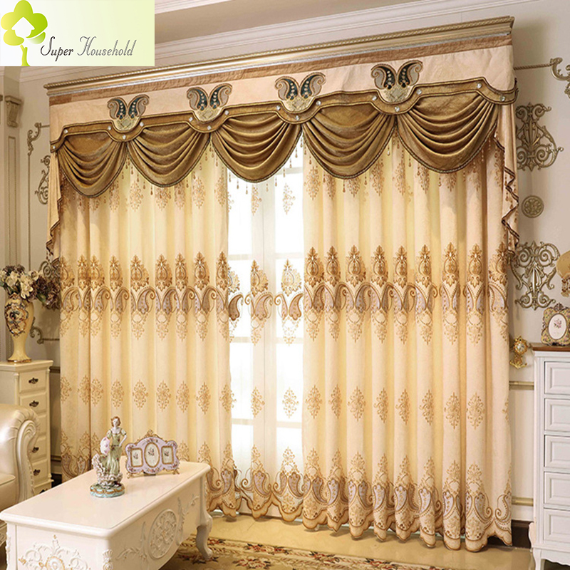 1 PC European Kitchen Curtains Embroidered Chenille Curtains For Living  Room Bedroom Luxury Window Treatments (Without Valance)