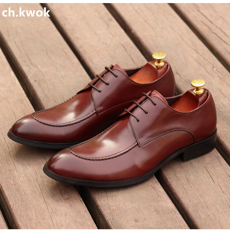 CH.KWOK Black Mens Wedding Dress Shoes Oxfords Italian Leather Derby Shoes Autumn Spring Lace Up Genuine Leather Oxfords Plus 45 2017 men shoes fashion genuine leather oxfords shoes men s flats lace up men dress shoes spring autumn hombre wedding sapatos