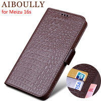 AIBOULLY Genuine Leather Flip Case For Meizu 16s Protective Phone Cover Leather Wallet Silicon Cases For Meizu 16 16 X 16s Plus