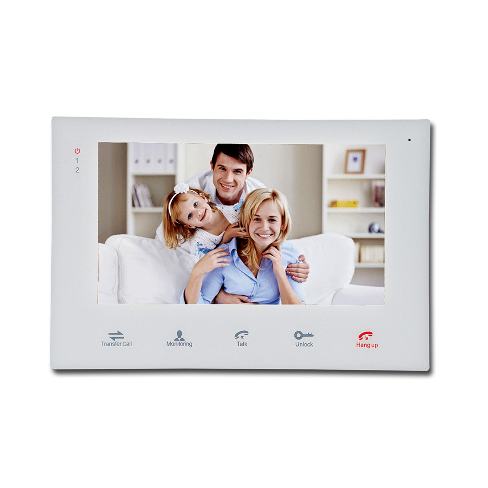 Homefong 7 Inch Wired Video Door Phone Intercom System White Color Recording SD Card Supported