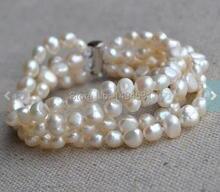 Venta al por mayor joyería de perlas, boda las damas de honor regalo pulsera, blanco 8 pulgadas 4 Rows 6 – 7 mm perlas de agua dulce genuino