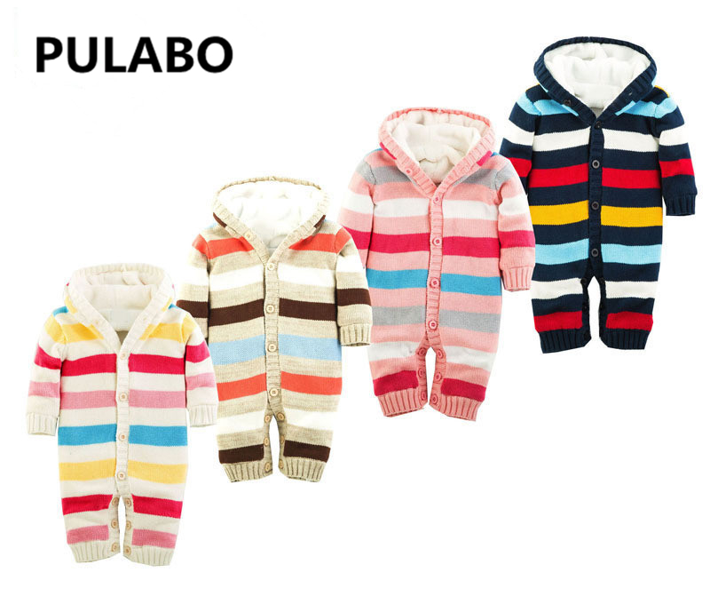 2016 baby boys girls colorful striped rompers infant warm clothes hood jumpsuit coverall Knitted Sweater Christmas Outwear gift winter baby snowsuit baby boys girls rompers infant jumpsuit toddler hooded clothes thicken down coat outwear coverall snow wear