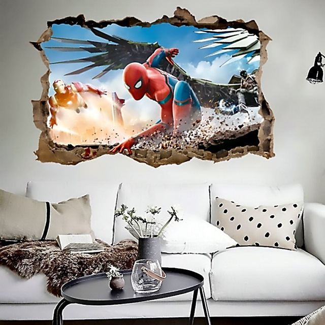 cartoon spiderman iron man wall decals for kids rooms decor 3d effect decorative wall stickers diy & cartoon spiderman iron man wall decals for kids rooms decor 3d ...
