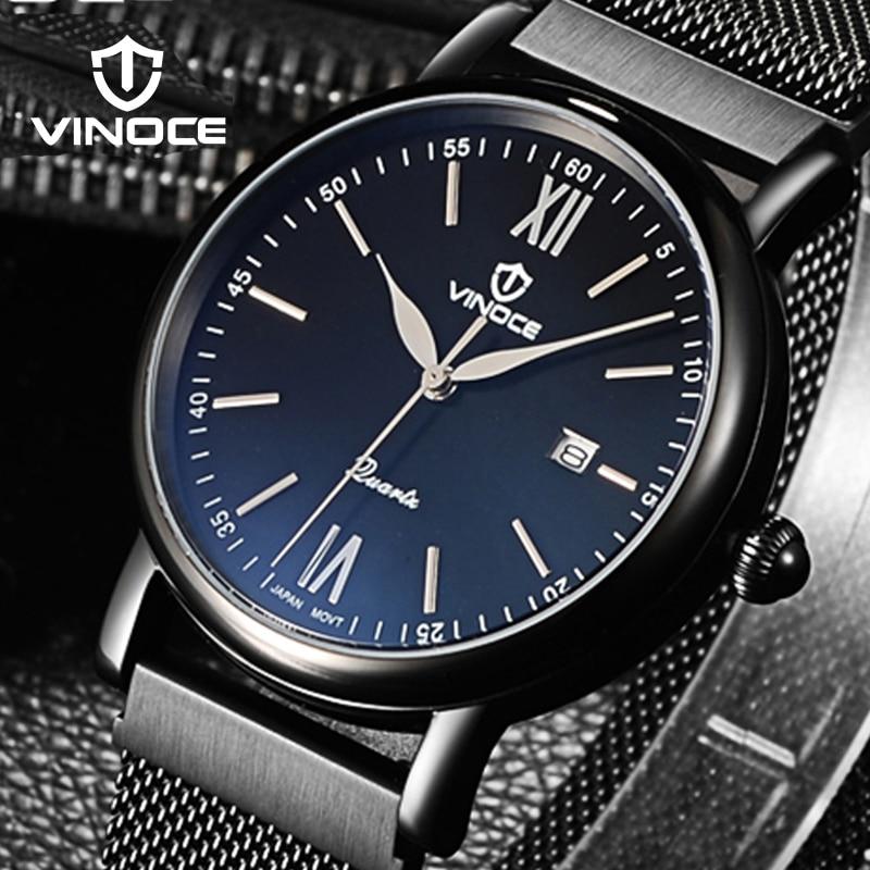 купить VINOCE Watches Men Stainless Steel Ultra Thin Mesh Milanese Band Wrist Watches Men Calendar Relojes Hombre #V8388GT по цене 3399.2 рублей