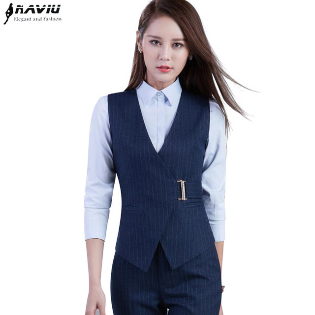 343209b9fed High quality business women stripes pants suits formal Slim V Neck vest  with pants office ladies office plus size work wear