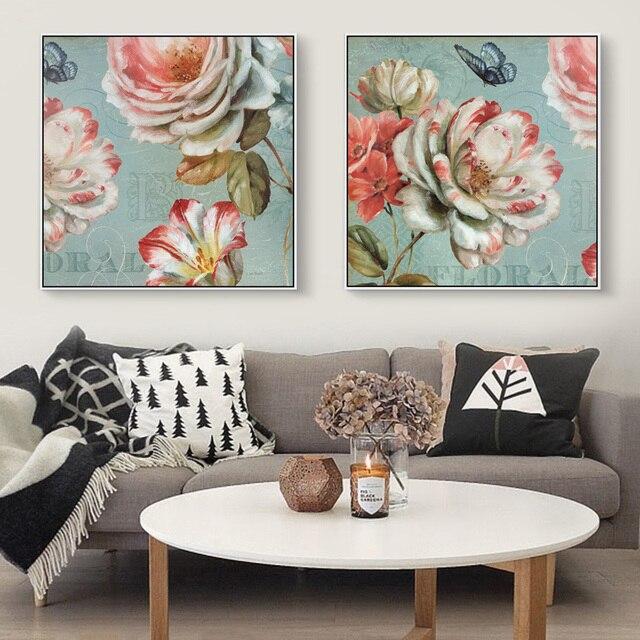 Nordic Triptychon Schmetterling Und Rosa Blumen Art Canvas Decor Leinwand  Poster Bild Moderne Wohnzimmer Wandkunst Dekor