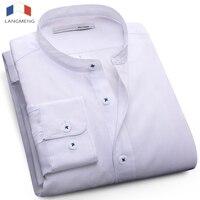 Langmeng Plus Size 5XL Mandarin Collar Solid Color Fashion Dress Shirt Men Long Sleeve Spring Autumn