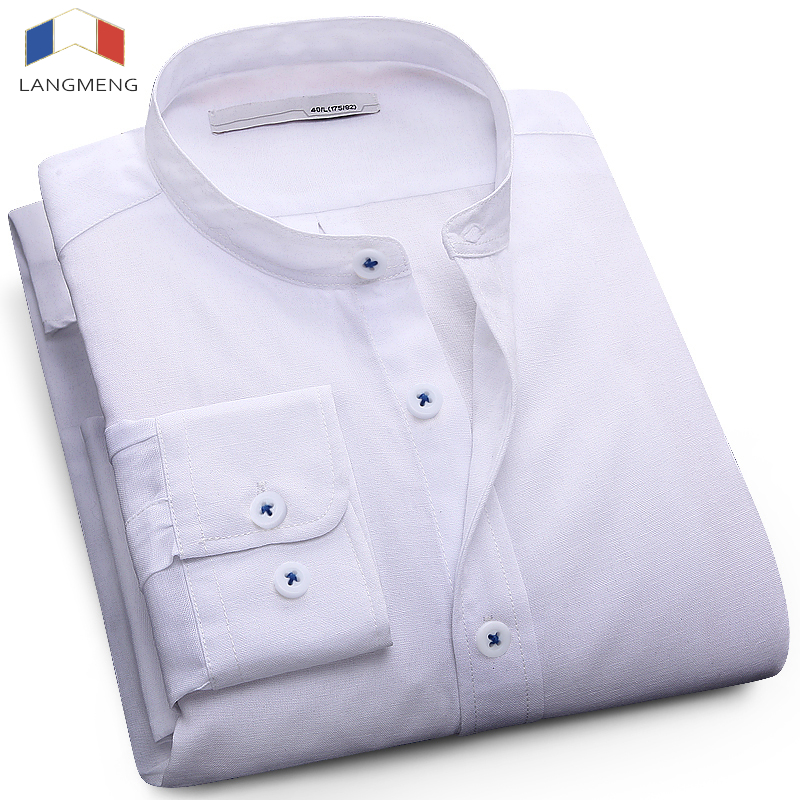 Langmeng plus size 5XL mandarin collar solid color fashion dress shirt men long sleeve spring autumn mens oxford casual shirt