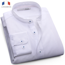 Langmeng plus size 5XL mandarin collar solid color fashion dress shirt men long sleeve spring autumn mens oxford casual