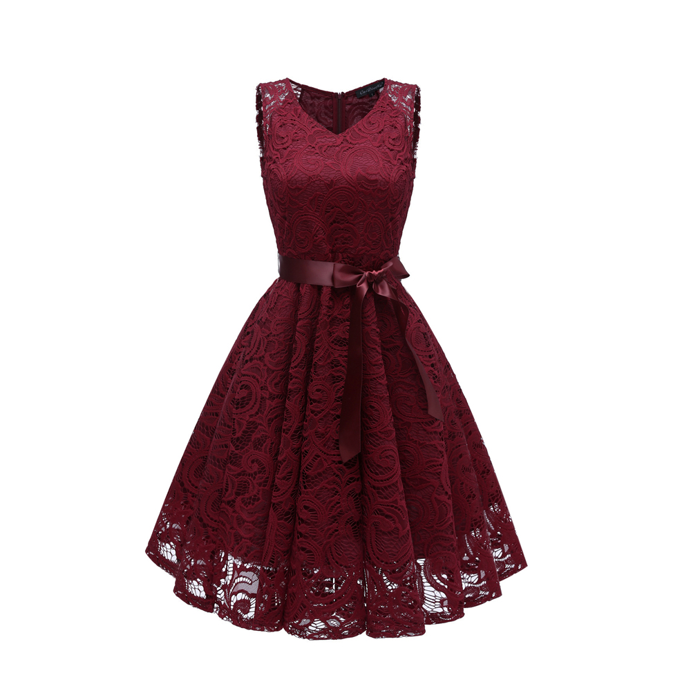 Burgundy   Cocktail     Dresses   elegant formal party   dress   A-Line V-Neck lace Women 2019 Short Vestidos Sexy Women Homecoming   Dresses