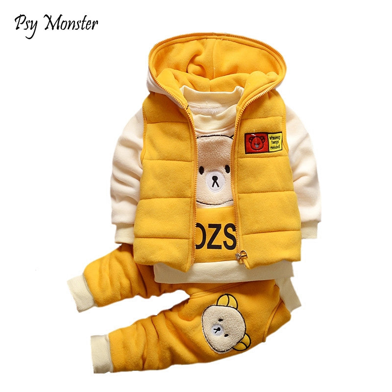 Baby Boys Girls Christmas Autumn Warm WaistCoat + Sweatshirt + Pants 3Pcs Infant Kids Children Sports Suit Toddler Clothes W168