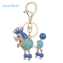 saatleri 2017 new fashion Dog Rhinestone Tassel Keychain Bag Handbag Key Ring Car Key Pendant