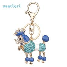 saatleri 2017 new fashion Dog Rhinestone Tassel Keychain Bag Handbag Key Ring Car Key Pendant
