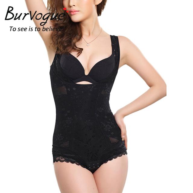 Burvogue Women Lace Body Shaper Underwear Tummy Control Shapewear Bodysuits Underbust Seamless Shaper