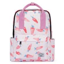 Preepy Waterproof Woman School Backpack for Girl 2019 Premium Canvas Carrot Printed Bookbag Travel Lightweight Laptop Back Bag