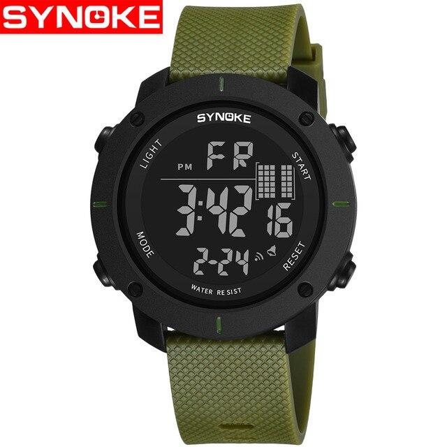 SYNOKE Спорт светодиодный часы Для мужчин сигнализация водостойкой Цифровые наручные часы для мальчика электронные часы секундомеры erkek коль saati