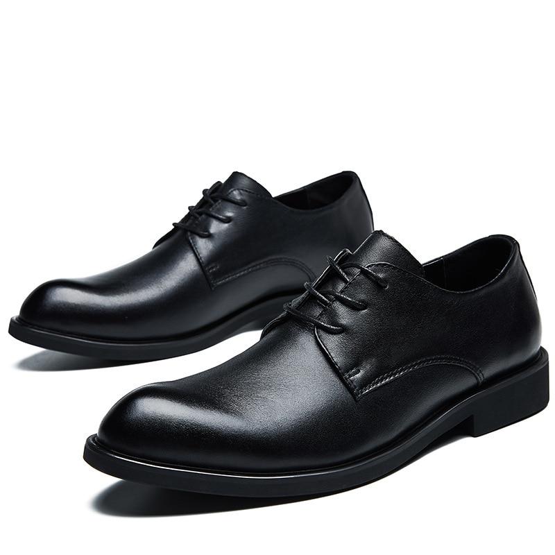 Misalwa Escritório Homens Black Derby Gota Dos Couro Pontas Oxford De Da Shoes brown Dedo Sapatos Uniforme Do 38 Vestido Casamento Size Casuais Shoes 48 Plus Navio Pé HwqgT8rHB