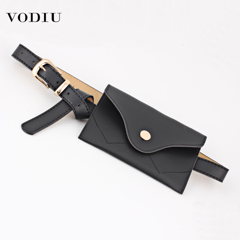 2019 Fashion Women Fanny Pack Simple Vintage Mini Adjustable Phone Purse Key Card Envelope Bag High Quality PU Leather Waist Bag