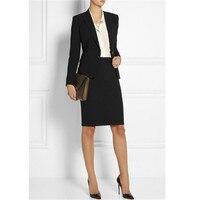 Custom Women Work Wear Jacket Formal Lady Casual Business Office Skirt Suit Women's Casual 2 Piece Set Black