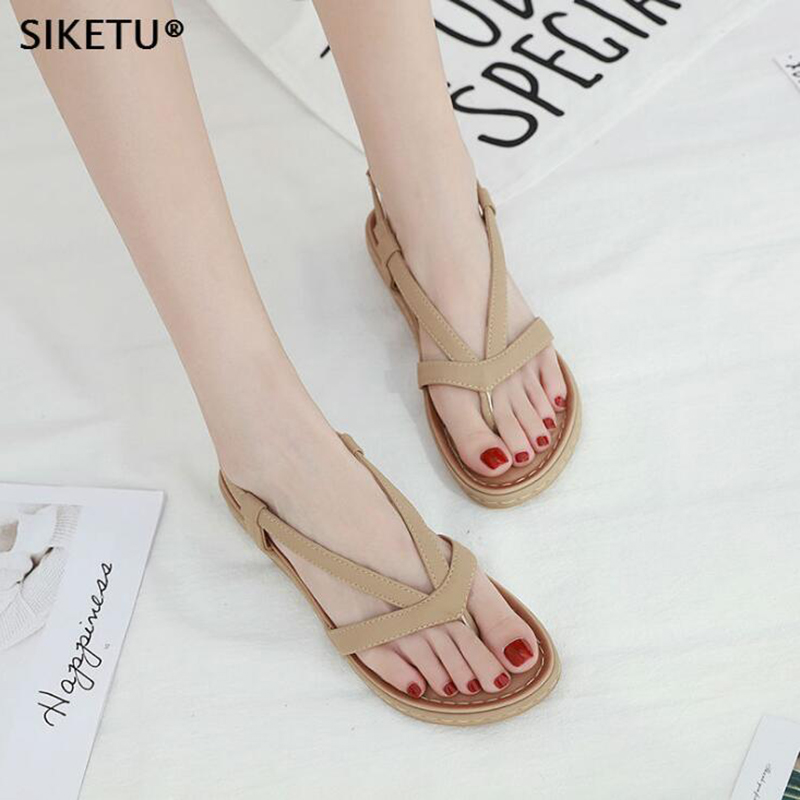 0c02b9d59ee2 Aliexpress.com   Buy Women Sandals Slip On Elastic Band Female Summer Shoes  Platform Roman flip flops Flat Sandals mujer sandalias Ladies Footwear c6  from ...