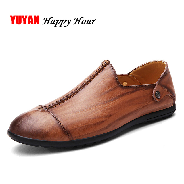 New 2017 Spring Autumn Genuine Leather Shoes Men Loafers Soft Fashion Men'S Casual Shoes Male Brand Footwear Plus Size 46
