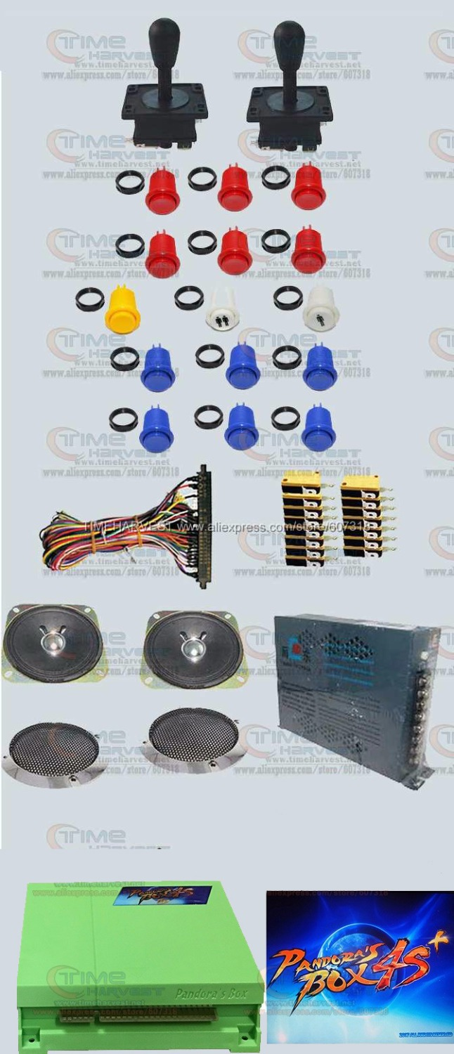 Arcade parts Bundles kit With 815 in 1 Pandora Box 4S American style Joystick & buttons Microswitches Jamma Harness power supply hdmi vga pandora box 4s arcade game board 815 in 1 with 28 pin harness for arcade mechine diy arcade kit