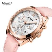Megir relojes de cuarzo de cuero para mujer, reloj de pulsera resistente al agua con cronógrafo, 24 horas, femenino, rosa, 2115