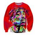 2016 Мода Панк 3D Красный 2 PAC Печать Пиджаки Уличная Полный Рукавом Пуловер Пиджаки Для Мужчин Женщины Куртка