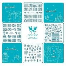 Acrylic Christmas Decorations Nail Stamping Plates Konad Stamping Nail Art Manicure Template Stamp Nail Tools