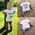 2016 El Más Nuevo Estilo Lindo Outfit Ropa Niñas Niño Niños Bebé de Verano Carta Tapas de La Camiseta Larga + pantalones de Arce 2 UNIDS Conjuntos