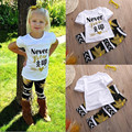 2016 Newest Toddler Kids Baby Girls Summer Style Cute Outfit Clothes Letter T-shirt Tops+Long Maple pants Trousers 2PCS Sets