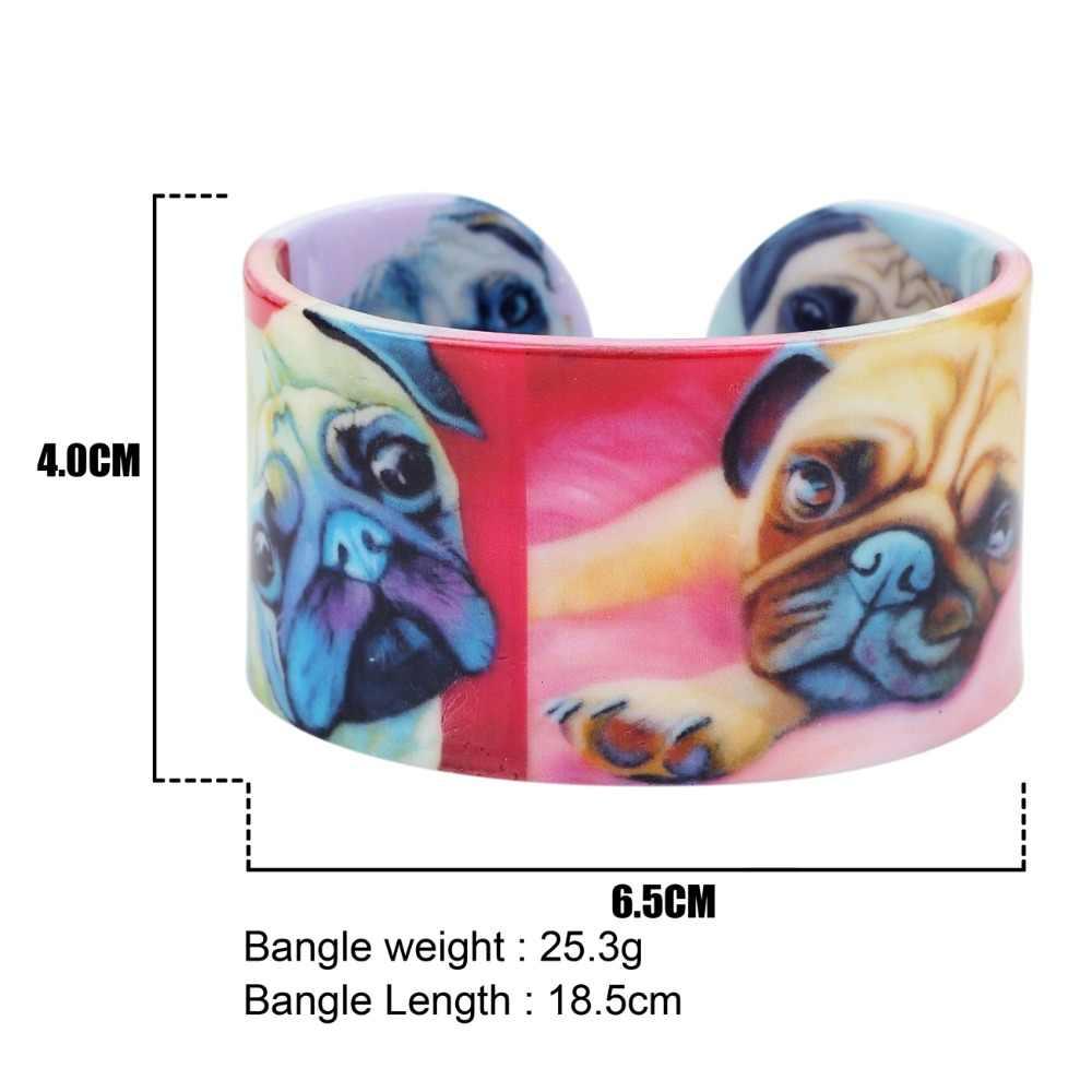 Bonsny di Plastica Francese Bulldog Pug Dog Braccialetti Dei Braccialetti di Modo Monili Del Mestiere Indiani Per Le Donne Della Ragazza Della Decorazione Animale Dichiarazione