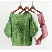 White Hollow Out Embroidered Lace O neck Loose Batwing Sleeve Cotton Linen Blouse Mori Girl 2018 Summer New Women Shirt Tops