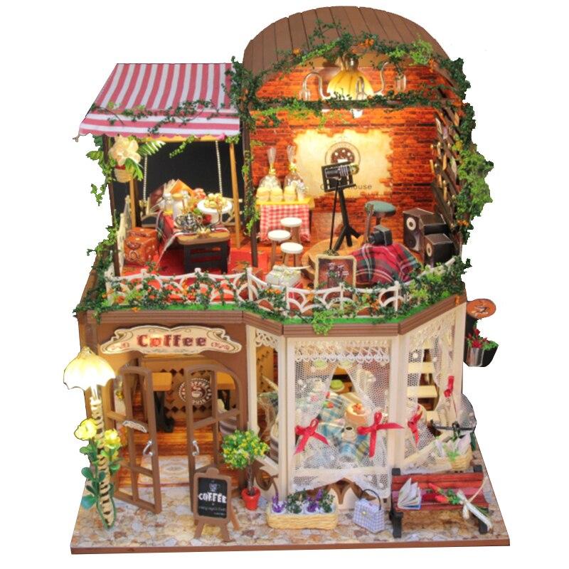 Meubles BRICOLAGE Maison de Poupée En Bois Miniature Poupée Maisons Meubles Kit Puzzle Main Dollhouse Jouets Pour Enfants fille cadeau D015