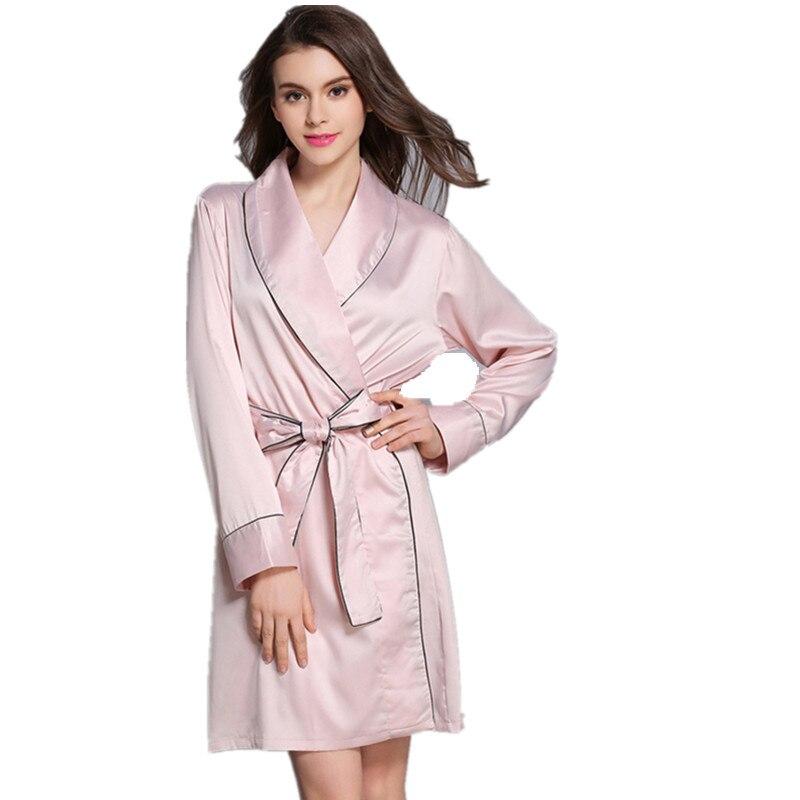 Fashion Satin Faux Silk Robe Solid Winter Sexy Women Bathrobe Home Clothes Sleepwear Bath Robes Womens Dress Gown