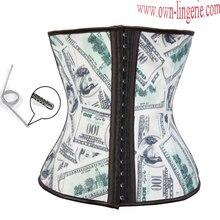 Free shipping hot sale us dollar latex waist cincher with steel bones,dollors printed waist shaper for women