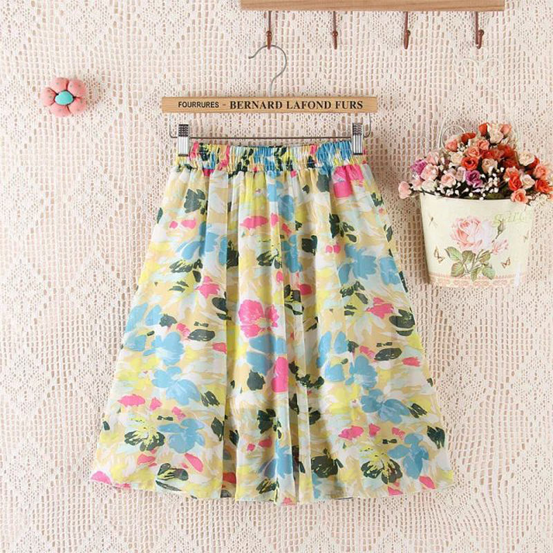 2020 New Arrival Girls Fashion Flower Print Pleated Skirt Knee High Student Chiffon Short Skirt Women Cute Short Skirts