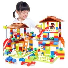 89 шт. DIY красочный городской дом крыша большая частица строительные блоки замок обучающая игрушка для детей совместимая legoe duplo горка