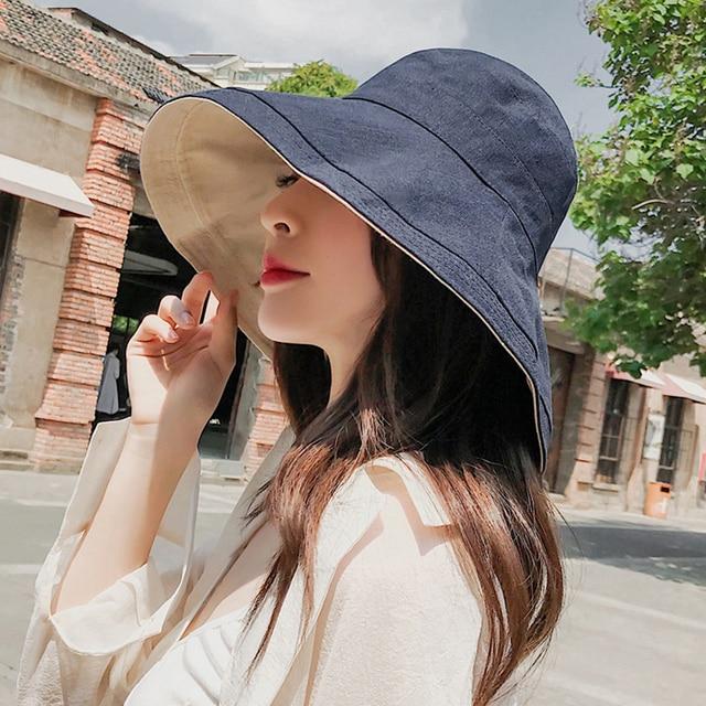 4f2f70567a0 Fashion Cotton Linen Bucket Women Bucket Hats Outdoor Plain Wide Brim  Casual Fisherman Girl Hat Ladies Beach Cap Reversible