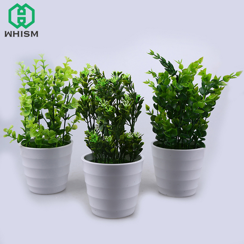 WHISM Artificial Eucalyptus Bonsai Plastic Fake Green Milan Grass Decorative Emulate Plant Simulate Plant With Pot Home Decor