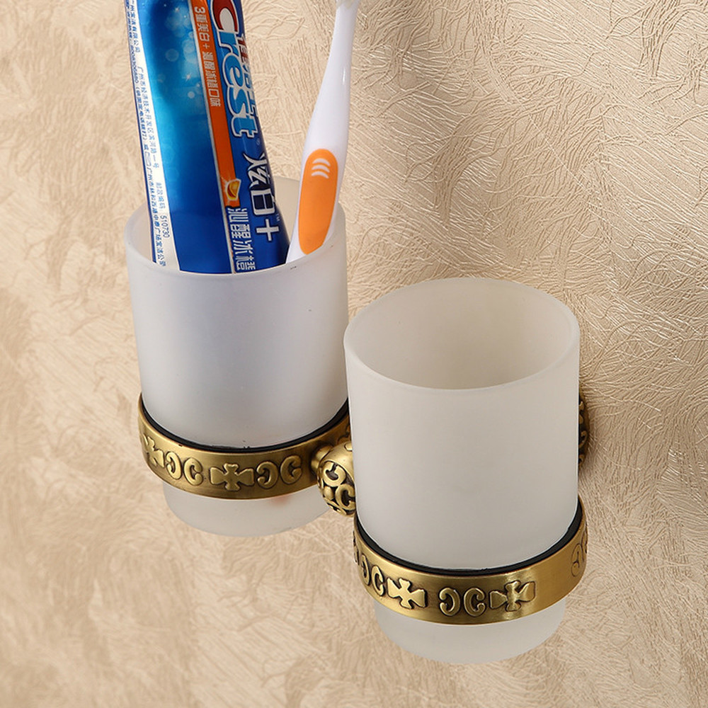 A1 Copper European antique bathroom wash cup holder cup double cup holder brush cup set LO731230 cup